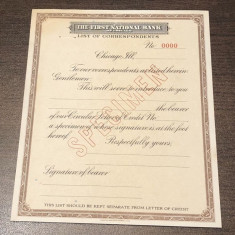 Letter of Indication First National Bank of Chicago SPECIMEN