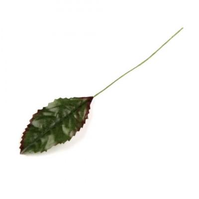 Frunza trandafir artificiala, 12 cm lungime, culoare verde foto