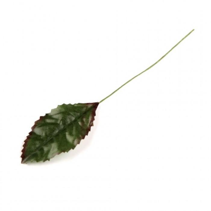 Frunza trandafir artificiala, 12 cm lungime, culoare verde