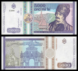 ROMANIA LOT 5 BANCNOTE UNC 5000 /500/2000/10000 LEI