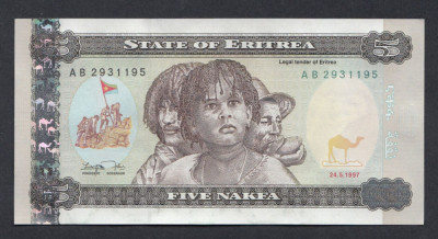 A5886 Eritrea Eritreea 5 nakfa 1997 UNC foto