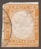 Italy Sardinia 1855 Definitives, King Viktor Emanuel II, 80c yellow, used AM.235, Stampilat