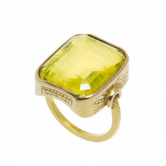 Inel din aur galben 18K, ornamentat cu lemon cuart, circumferinta 51 mm, IAU119