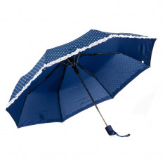 Umbrela pliabila bleumarin cu mici inimioare albe, margine fronsata alba, deschidere automata, ∅ 112cm
