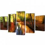 Set de tablouri din pânză cu temă pădure 100 x 50 cm, vidaXL