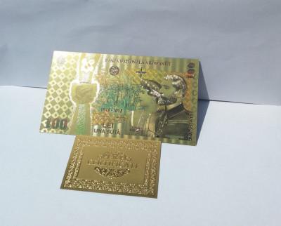 Bancnota 100 LEI Unire 2018 Centenar aur 24k gold UNC colectie foto
