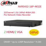NVR DAHUA 4K, NVR5432-16P-4KS2E, 320Mbps, 32 canale IP, 16 porturi PoE