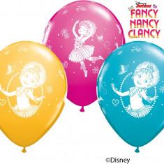 "Baloane latex 11"" inscriptionate Fancy Nancy Clancy, Qualatex 92723, set 25 bucati"