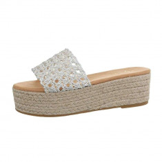 Papuci sic, argintii, cu platforma, 36 - 41, Argintiu