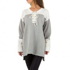 Bluza moderna, asimetrica, gri-alb, M, S