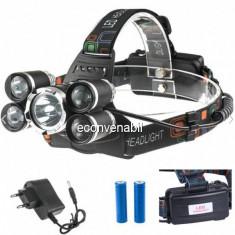 Lanterna Frontala 5LED 5W 2x18650 220V QE905