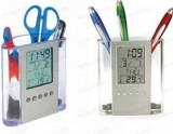 Cumpara ieftin Suport de pixuri cu afisaj LCD pentru calendar, ceas si termometru