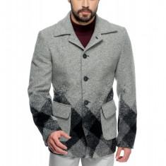 Palton Barbati Casual Scurt cu Print Geometric B162 Lan27