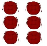 Set Perne decorative rotunde, pentru scaun de bucatarie sau terasa, diametrul 35cm, culoare visiniu, 6 buc/set, Palmonix