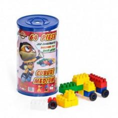 Cuburi Constructie 64 piese plastic colorate