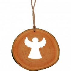 Decoratiune de craciun New Way Decor - Ingeras din felie de lemn