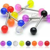 Piercing pentru limbă, bile colorate, cu sclipici - Culoare Piercing: Ametist