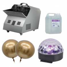 Set Masina de facut baloane 300W baloane petrecere si glob disco lichid 5L cadou