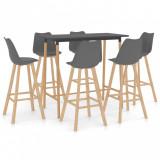 Set mobilier de bar, 7 piese, gri, vidaXL