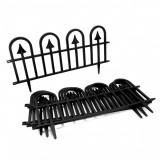 Gard de gradina decorativ, plastic negru, set 4 buc,60x31 cm, Artool