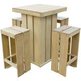 Set mobilier exterior, 5 piese, 75x75x110 cm, lemn pin tratat
