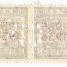 România, lot 22 cu 2 timbre fiscale în pereche oriz. cu perfin figurativ, MNH