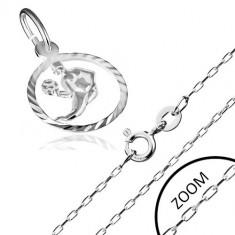 Colier realizat din argint 925 - lanț cu model semn zodiacal Fecioară