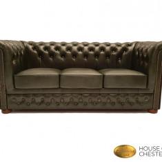 Canapea Chesterfield Brand ,Cloudy  Green -3 locuri-Piele naturală
