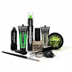 Kit make up fosforescent Chunky, sclipici UV, 9 piese, verde negru, PaintGlow