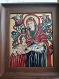 Icoana pe sticla Maica Domnului cu pruncul Iisus