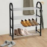 Suport pentru pantofi din plastic si aluminiu, Yosoo, 3 rafturi, Negru Argintiu