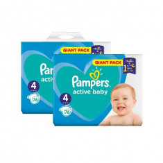 Pachet 2 x Pampers Active Baby Giant Pack - nr.4, 76 buc