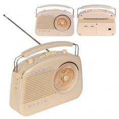 Radio FM portabil, 15 W, functie bluetooth, design vintage, Bej