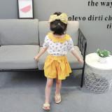 Costumas alb cu galben pentru fetite - Cirese (Marime Disponibila: 2 ani)