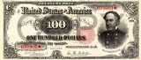 100 dolari 1891 Reproducere Bancnota USD , Dimensiune reala 1:1