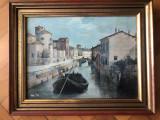 Tablou foarte vechi,pictura in ulei pe panza,Venetia,rama din lemn, Peisaje, Altul