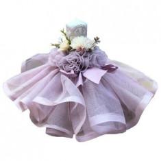Lumanare de botez, cu dantela, lila, 28 cm