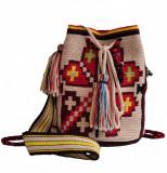 Geantă croșetată manual, ornamentată cu motivul popular Crișana soare fitoform