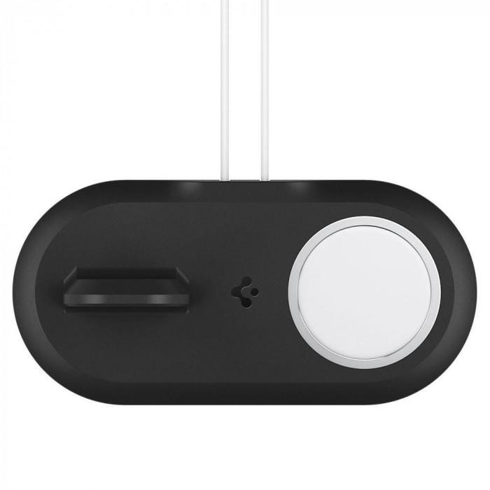 Stand incarcare Spigen MagFit Duo pentru MagSafe si Apple Watch Negru