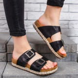 Papuci dama cu talpa groasa negre Verdira