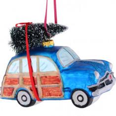 Ornament pentru brad masina vintage albastra