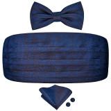 Set brau barbati, papion, batista sacou si butoni camasa matase naturala model paisley albastru bleumarin Tom Cruise