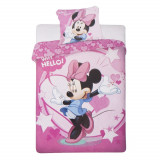 Lenjerie pat si fata perna Minnie Mouse Why Hello! Roz