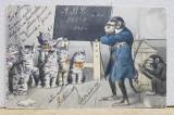 MAIMUTA PREDAND PISICILOR , CARICATURA , CARTE POSTALA ILUSTRATA , POLICROMA, CIRCULATA , CLASICA , DATATA 1904 , CU INSEMNARI PE FATA *