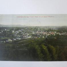 Campulung Muscel,orasul vazut de pe dealul Flamanda,carte postala circulata 1925