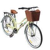 "Bicicleta dama cu cos, roti 26 inch, 7 viteze, schimbator Shimano, cadru otel 17"", frane pe disc, Phoenix"