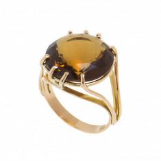 Inel din aur galben 18K, cuart fumuriu circular, circumferinta 56 mm
