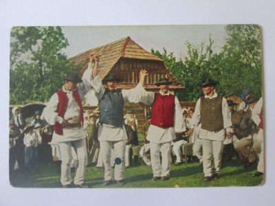 Carte postala necirculata dansuri populare romanesti aproximativ 1915 foto