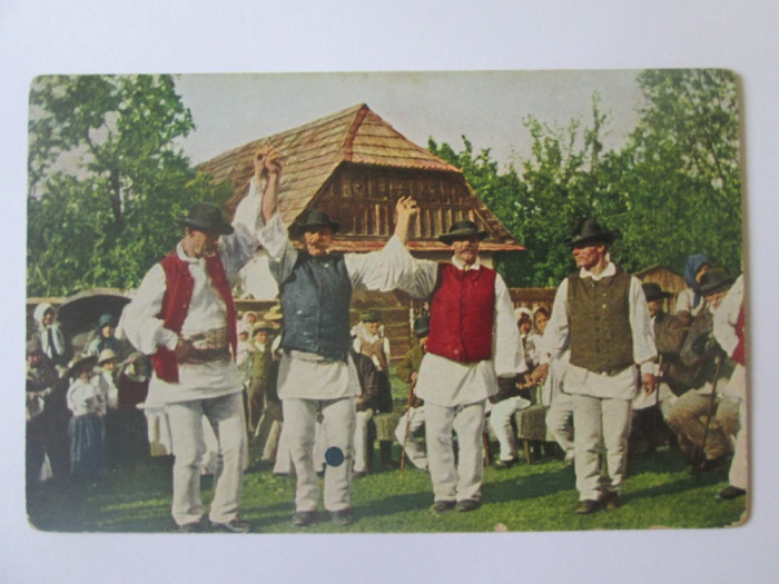 Carte postala necirculata dansuri populare romanesti aproximativ 1915