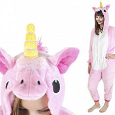 Costum Unicorn cu gluga pentru carnaval sau petreceri, marime M, culoare Roz
